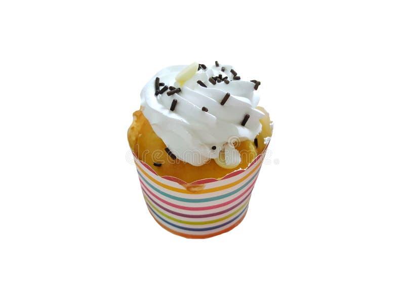 可口杯子蛋糕,不健康的食物,孤立 免版税库存照片