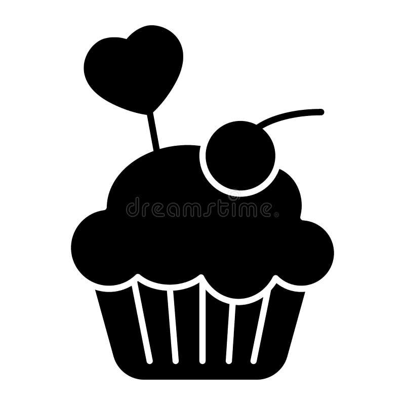可口杯形蛋糕,松饼固体象 在白色隔绝的乳脂状的蛋糕传染媒介例证 面包店纵的沟纹样式设计 皇族释放例证