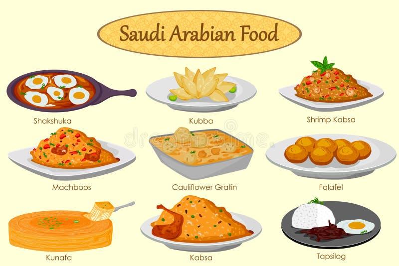 可口沙特阿拉伯食物的汇集 向量例证