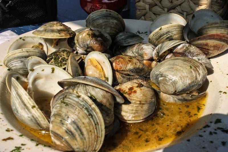 可口海鲜-煮熟的淡菜板材用在立即可食的汤的草本 库存图片