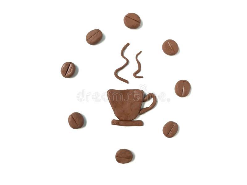 可口热的咖啡彩色塑泥黏土,咖啡豆面团 免版税库存图片