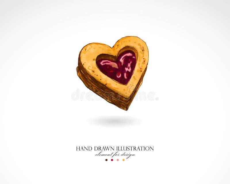 可口甜曲奇饼的例证以心脏的形式用在白色背景的人工画的山莓果酱 库存例证