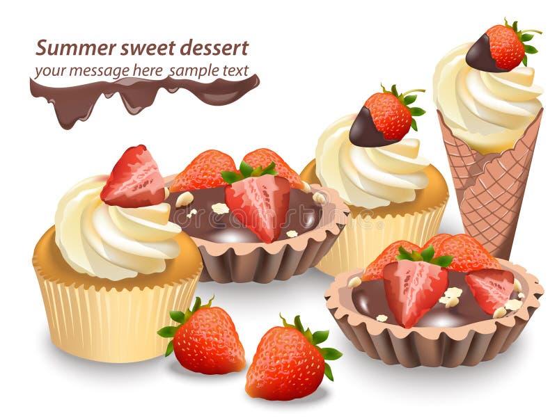 可口甜点和点心用果子 巧克力果子馅饼和香草杯形蛋糕 夏天糖果店面包店款待 向量例证