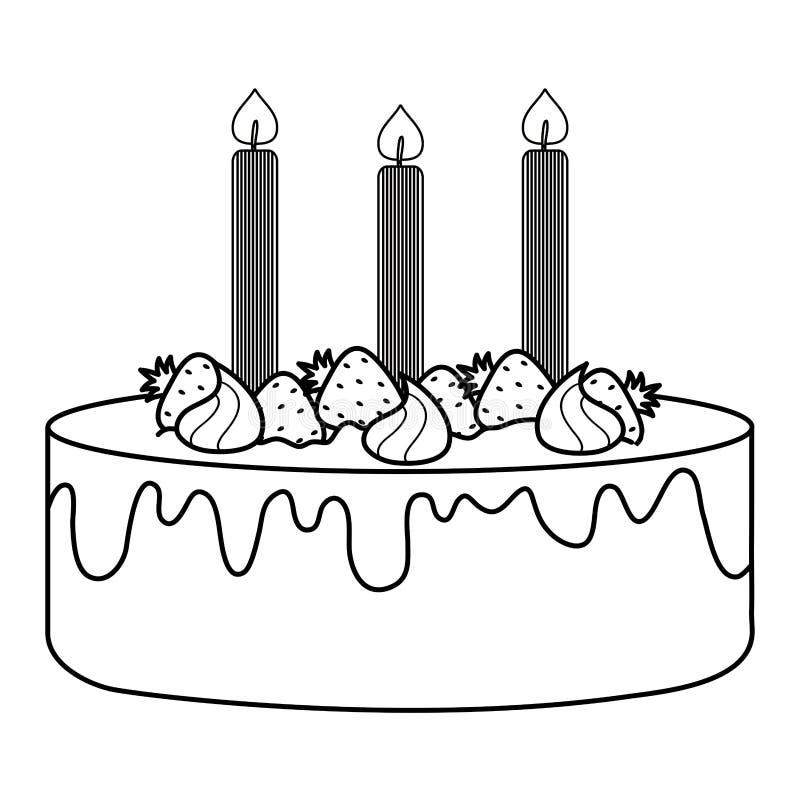 可口甜蛋糕用草莓和蜡烛 皇族释放例证