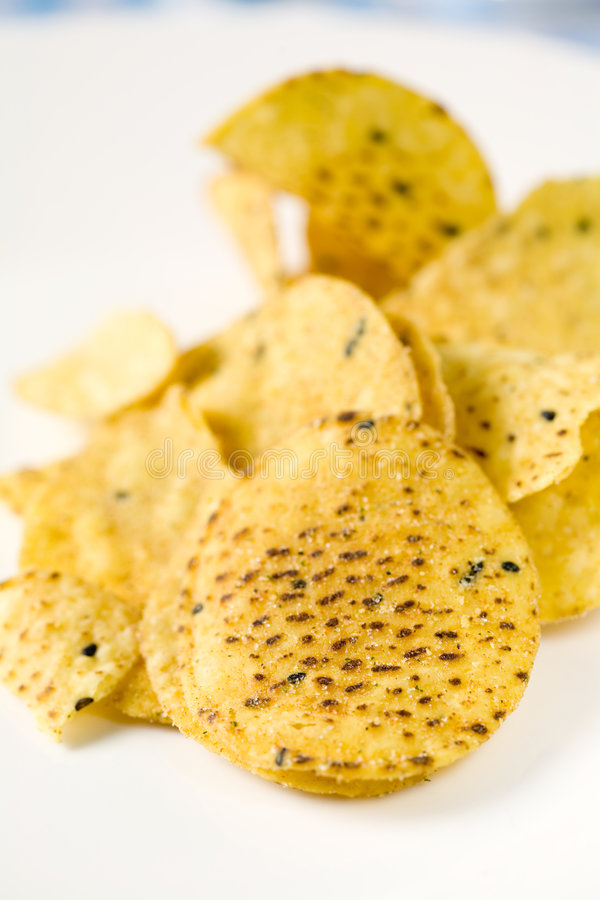 可口的油炸马铃薯片 图库摄影