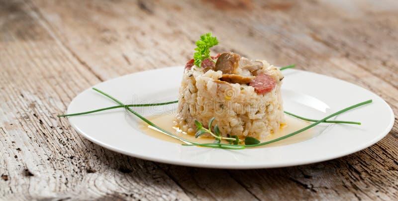 可口米用蘑菇和迷迭香,意大利煨饭 库存照片