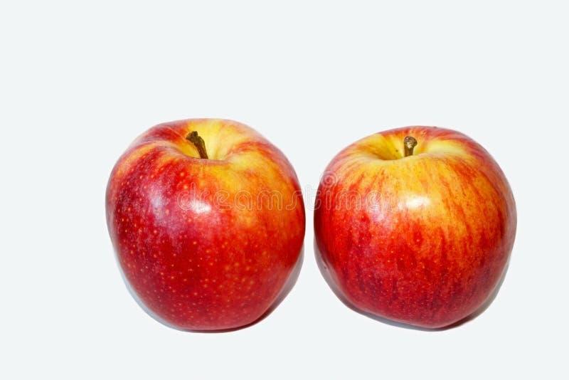 可口红色节目苹果计算机在白色背景中 库存照片