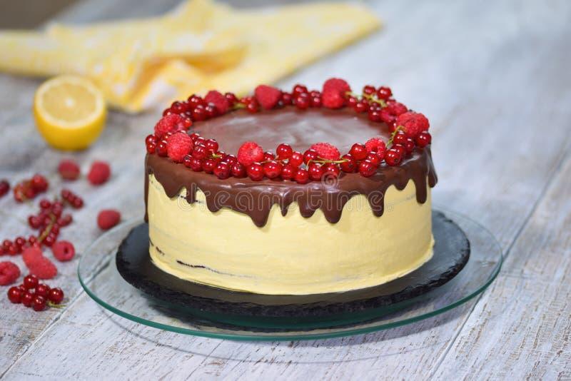 可口自创蛋糕用新鲜的莓果 免版税图库摄影