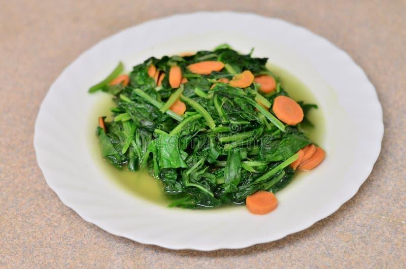 可口菠菜用红萝卜 免版税图库摄影