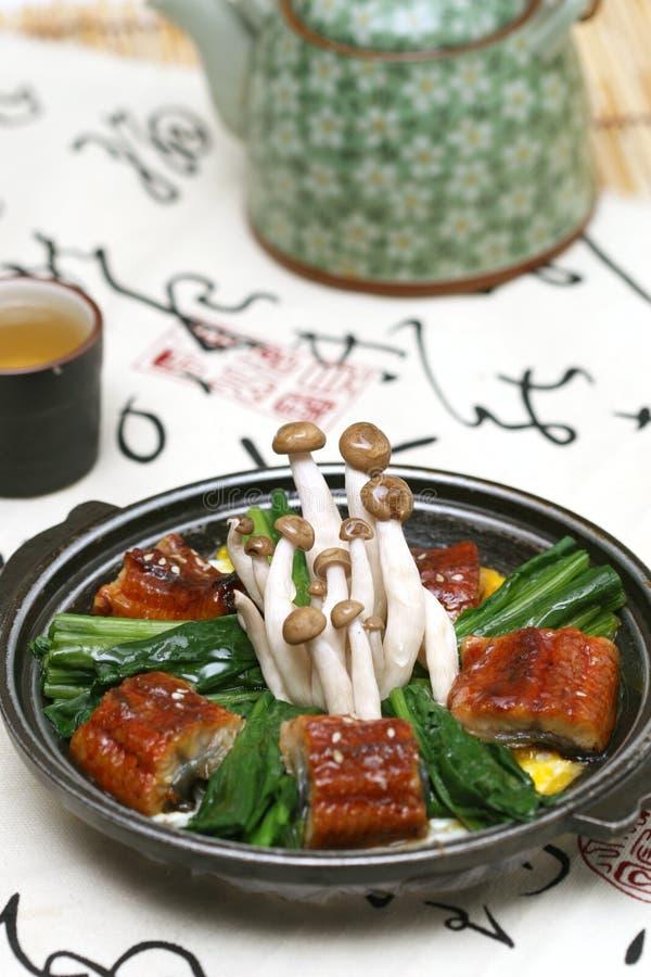 可口蘑菇准备的寿司 免版税库存照片