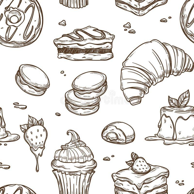 可口蛋糕和面包店产品剪影在无缝的样式 皇族释放例证