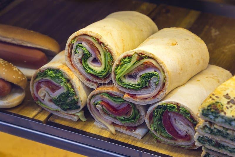 可口街道食物和快餐的不同的类型在威尼斯, I 免版税库存图片