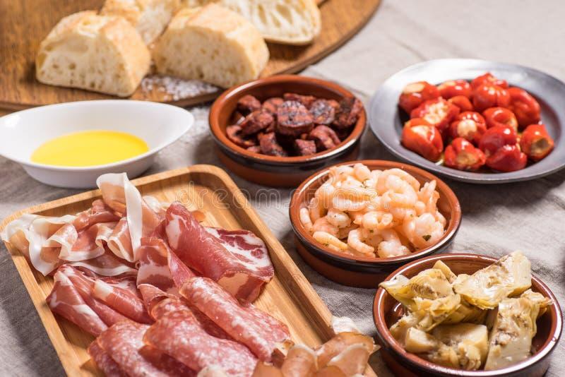 可口西班牙塔帕纤维布食物 免版税库存图片