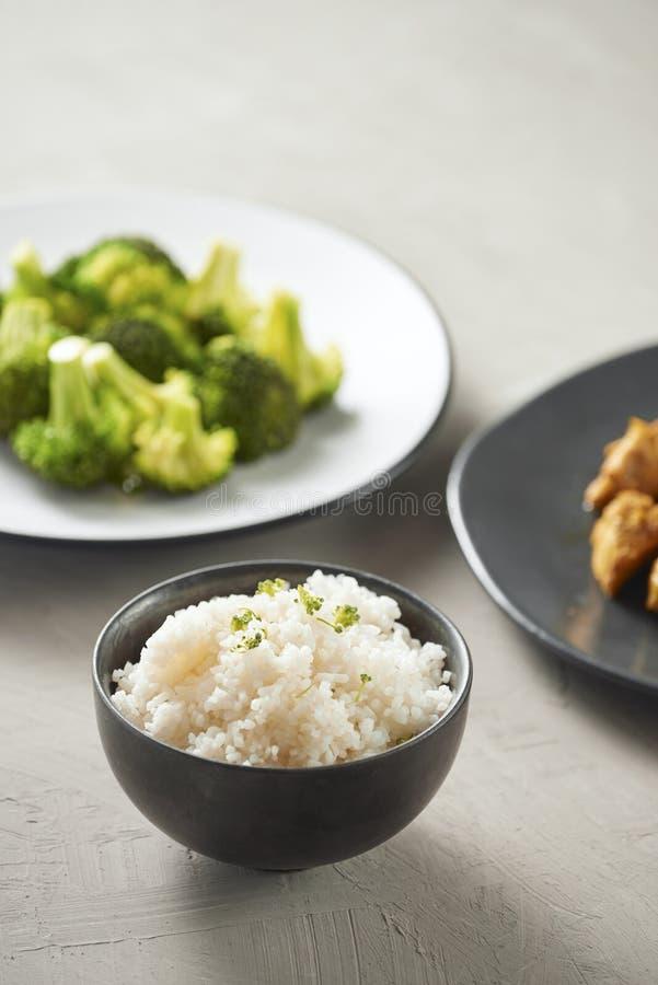 可口酱油鸡用米-亚洲食物样式 免版税库存照片
