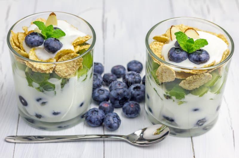 可口酸奶点心用蓝莓、猕猴桃和谷物在玻璃 免版税图库摄影