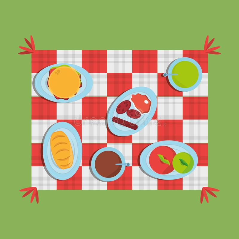 可口野餐方格的另外的食物 库存例证