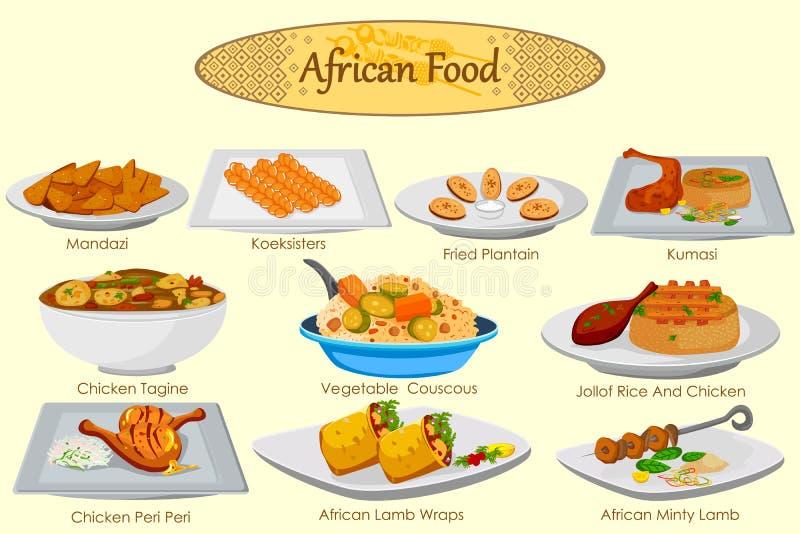 可口非洲食物的汇集 皇族释放例证