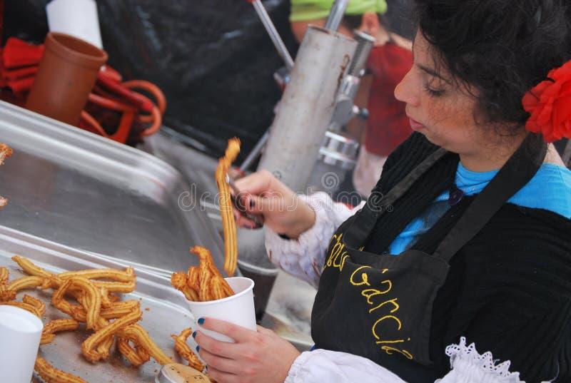 可口churros在市场上在Nottinghill,在伦敦 免版税库存图片