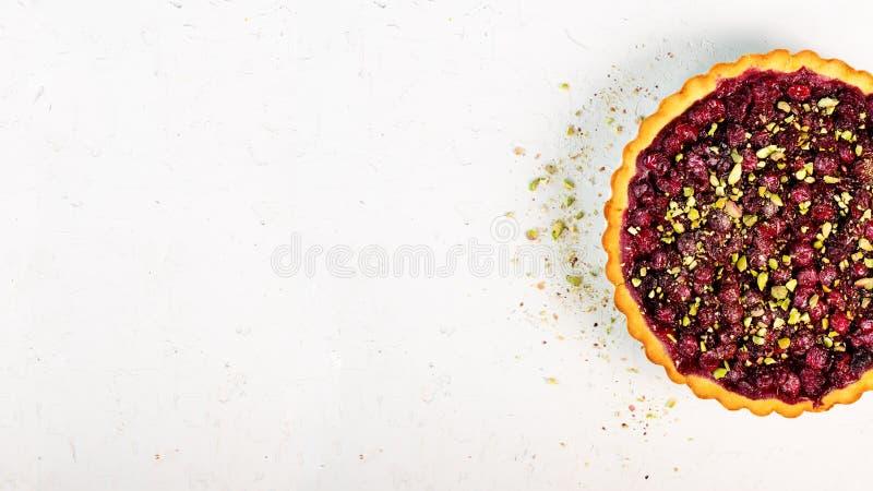 可口homamade蔓越桔,樱桃馅饼用开心果,搽粉了在白色具体背景的糖圣诞节的 免版税库存图片