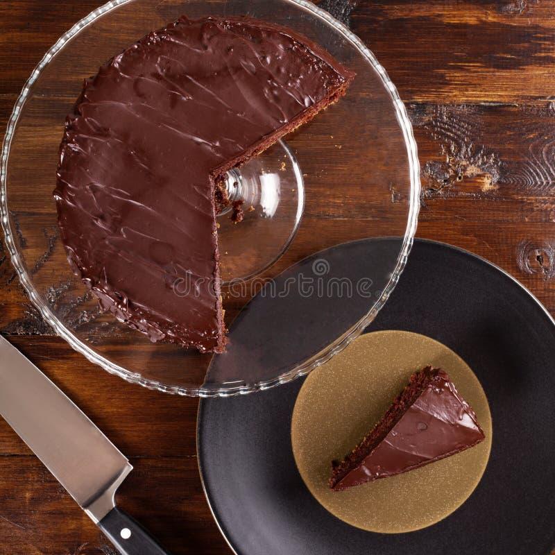 可口Sacher巧克力蛋糕 顶视图 图库摄影