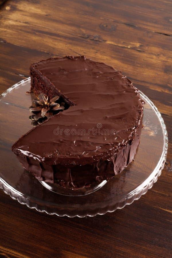 可口Sacher巧克力蛋糕 图库摄影
