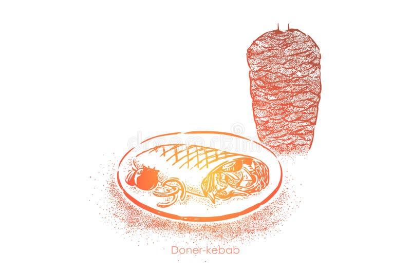 可口shawarma,doner kebab,传统三明治,在硬粒小麦包裹的肉烤在烤肉店 向量例证