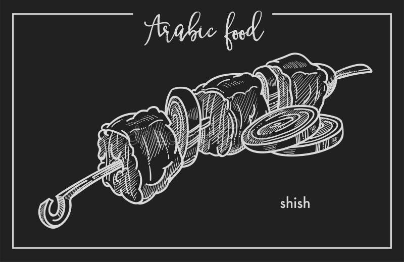 可口shish与在金属串的洋葱圈从传统阿拉伯食物 皇族释放例证