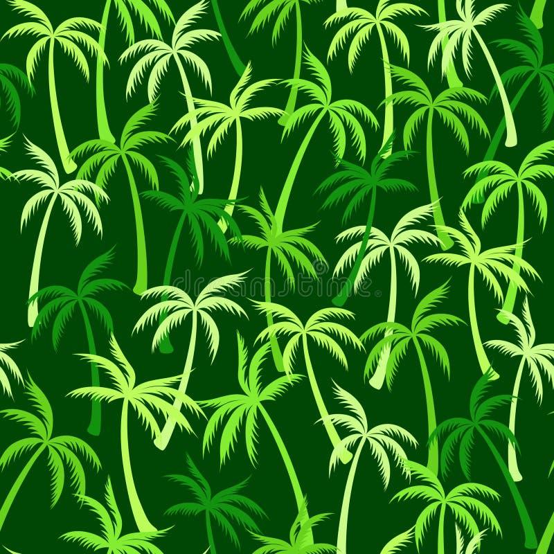 可可椰子树样式纺织品无缝的热带森林背景 重复样式的时髦传染媒介墙纸 皇族释放例证