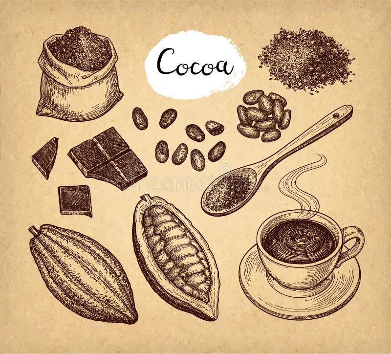 可可粉和巧克力集合 向量例证