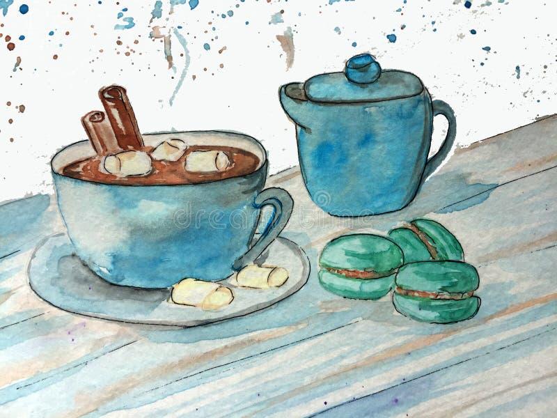 可可粉杯子用蛋白软糖和蛋白杏仁饼干 库存例证