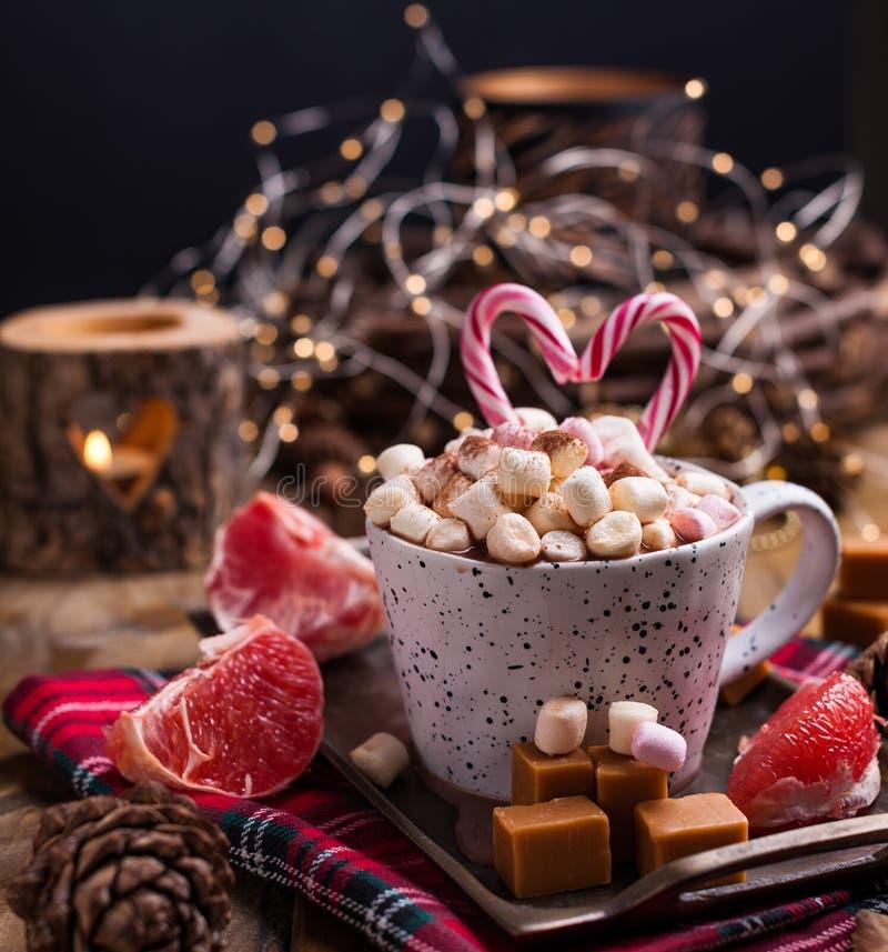 可可粉用在白色杯子、不同的圣诞节糖果和甜点的蛋白软糖在木背景 在黑暗的样式的照片和 免版税库存图片
