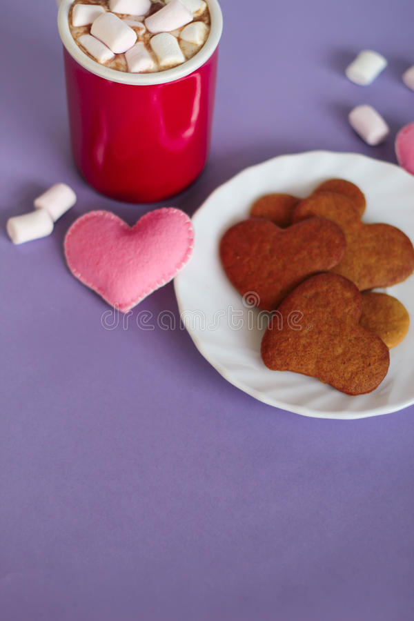 可可粉用蛋白软糖和姜饼曲奇饼 免版税图库摄影