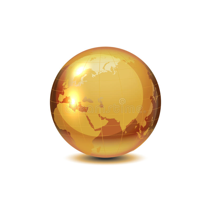 可实现的向量金黄地球 皇族释放例证