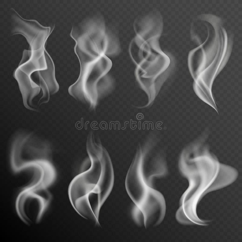 可实现的烟 白色在黑背景集合隔绝的食物蒸汽水烟筒热的茶咖啡烟纹理 库存例证