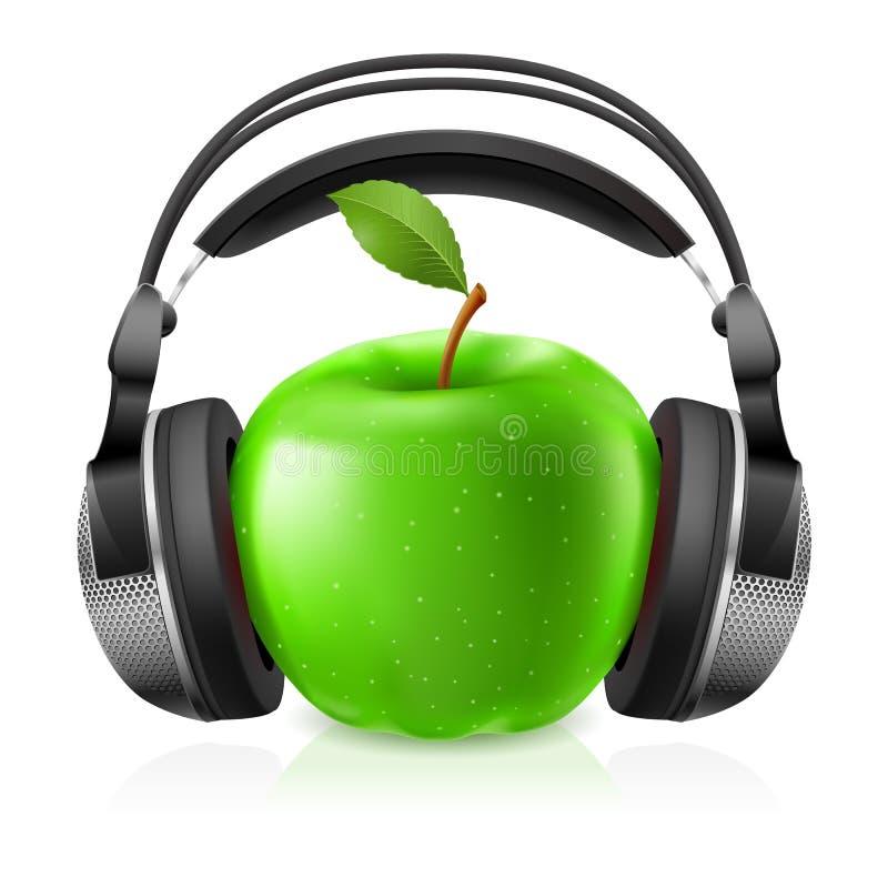可实现苹果绿的耳机 皇族释放例证