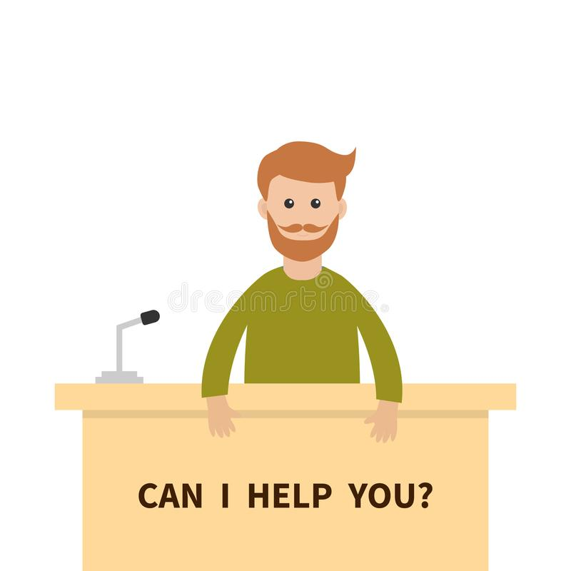 可帮助i您 人男性人顾问 招待会服务立场 表问讯处柜台话筒 信息支持 逗人喜爱 库存例证