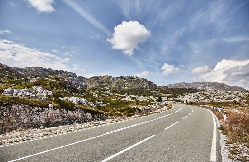 可弯的 向杜米托尔国家公园公园的路 夏天 黑山 库存照片