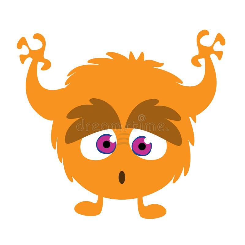可怕动画片妖怪 传染媒介橙色妖怪例证 向量例证