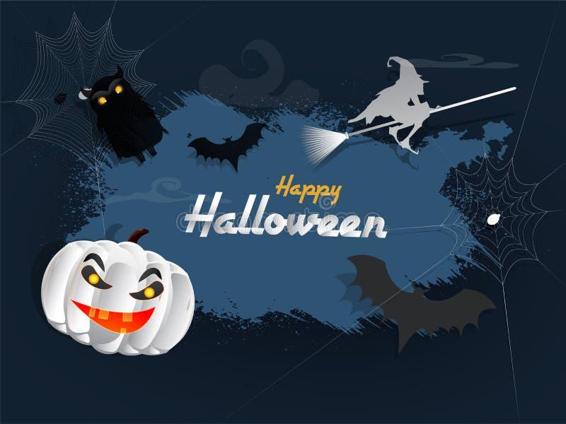 可怕南瓜、飞行的巫婆和棒在黑暗的难看的东西背景f 库存例证