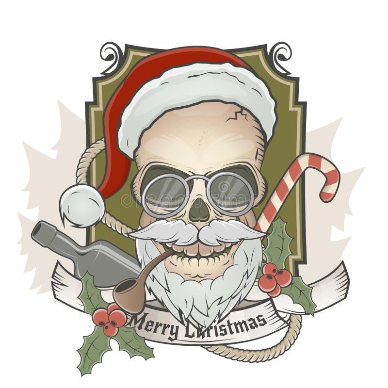 可怕圣诞老人头骨 向量例证