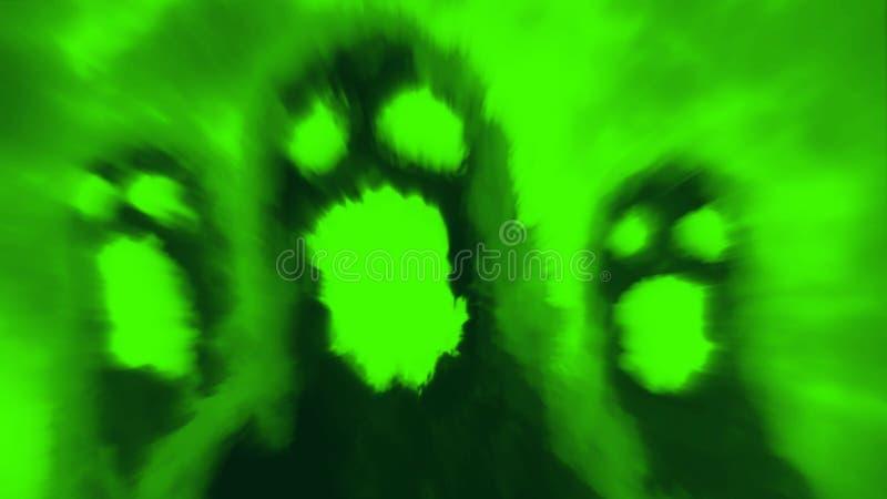 可怕地狱似鬼魂字符面孔 绿色 向量例证