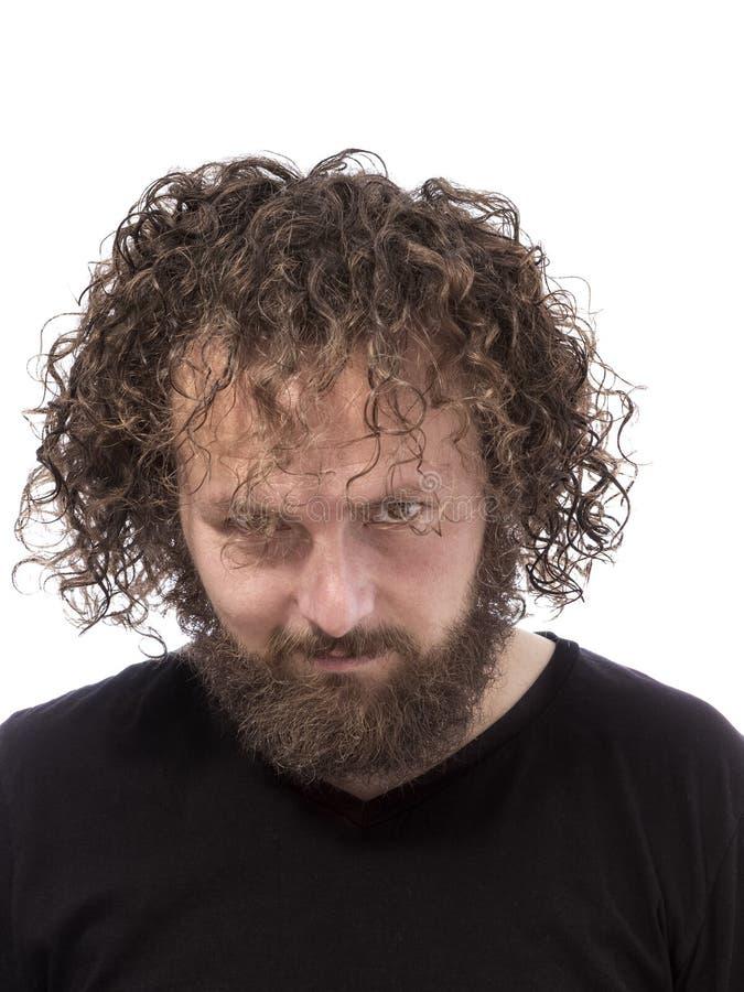 可怕有胡子的人画象 库存图片