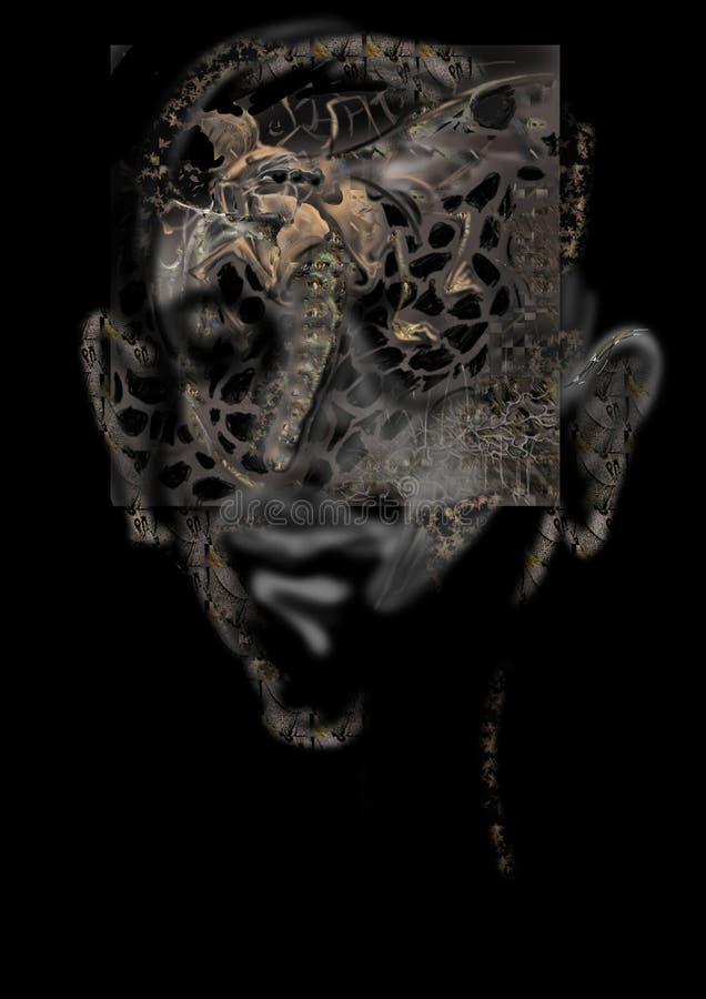 可怕生物面孔,万圣夜卡片 向量例证