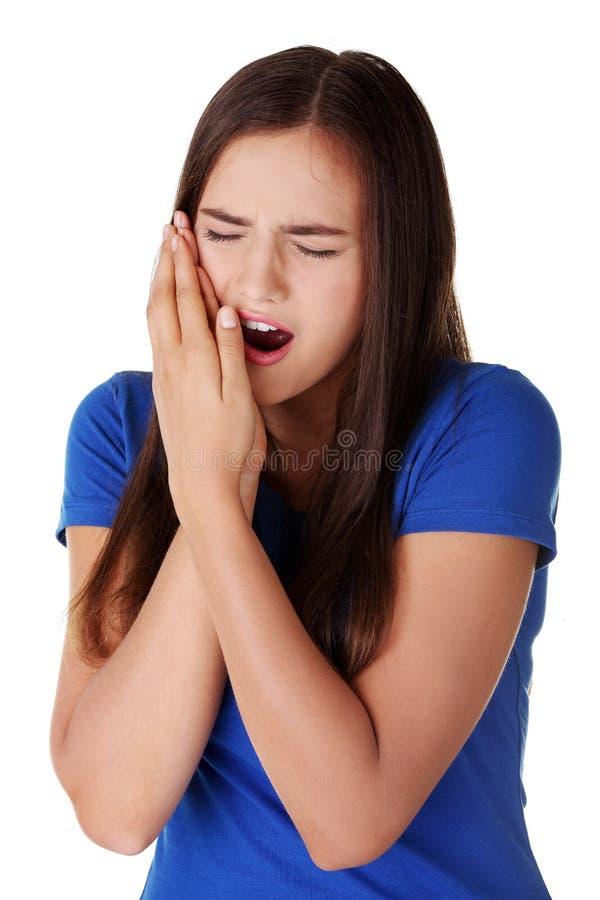 可怕的牙疼痛。 免版税库存照片