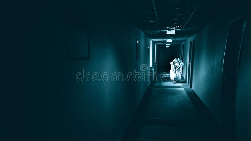 可怕的走廊在旅馆,恐怖黑暗走廊里 免版税库存照片