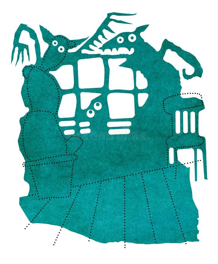 可怕的阴影恶梦、在罐的剪影从窗口的,仙人掌和椅子 向量例证