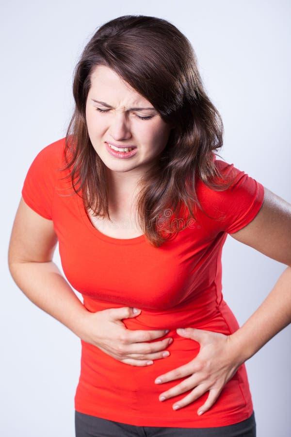 可怕的stomachache 图库摄影