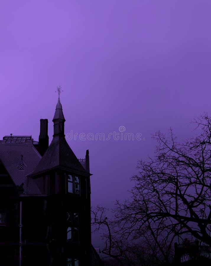 可怕黑哥特式大厦剪影和贫瘠树在紫色 免版税库存照片