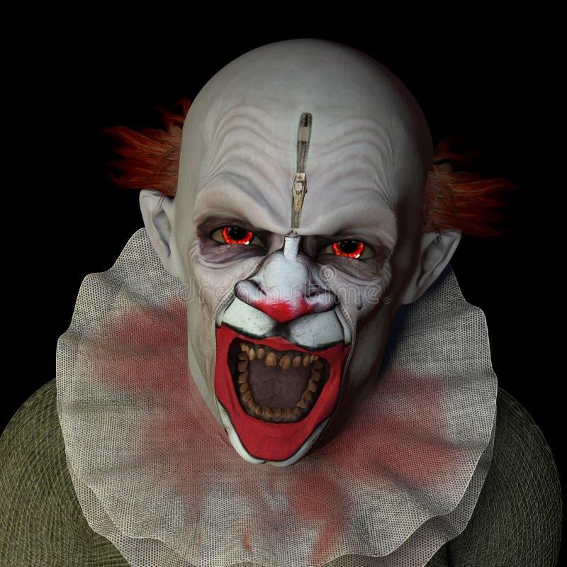 可怕1个的小丑 库存例证
