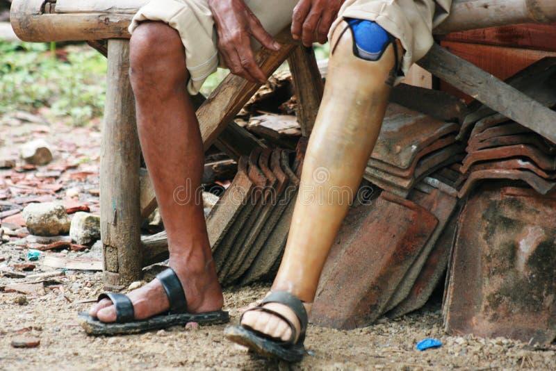 可怜的残疾人 免版税库存图片